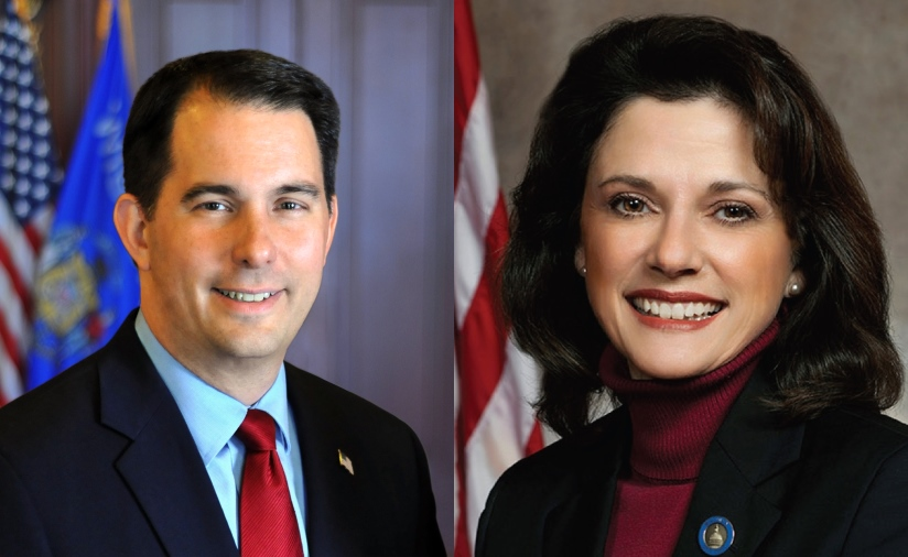 Gov. Scott Walker and State Sen. Leah Vukmir.