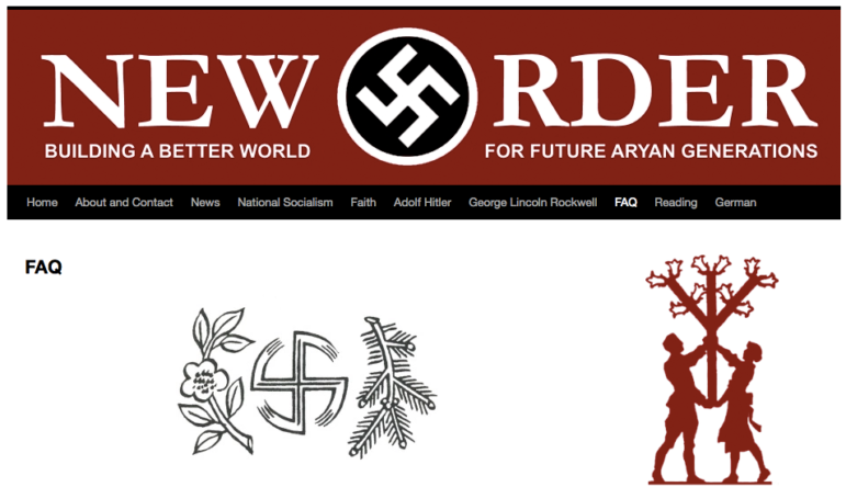 "New Order is a neo-Nazi group based in Milwaukee that calls members ""heirs"" of Adolf Hitler who support an all-white society. Neworderorg.wordpress.com."