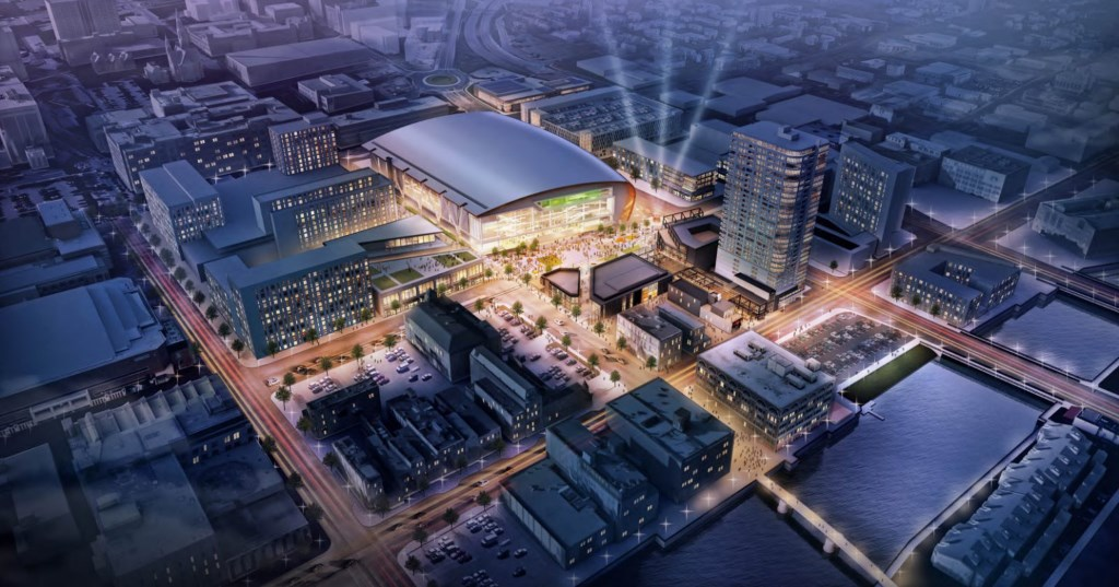 New Milwaukee Bucks arena and surrounding area. Rendering by Populous.