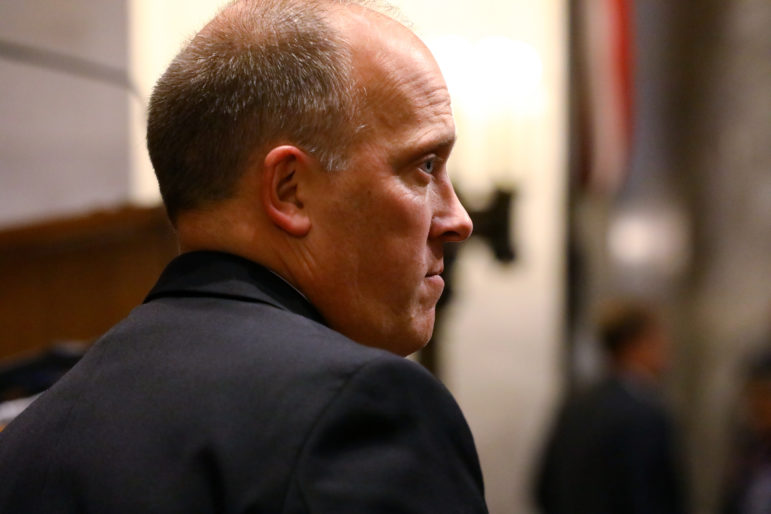 Wisconsin Attorney General Brad Schimel has railed against companies that defraud the state. But he also has declined to intervene on behalf of a whistleblower case that could results in tens of millions of dollars from prescription drug companies for allegedly overcharging the state's Medicaid program. Here he is seen at the State of the State address at the state Capitol in Madison, Wis., on Jan. 10. Photo by Coburn Dukehart / Wisconsin Center for Investigative Journalism.