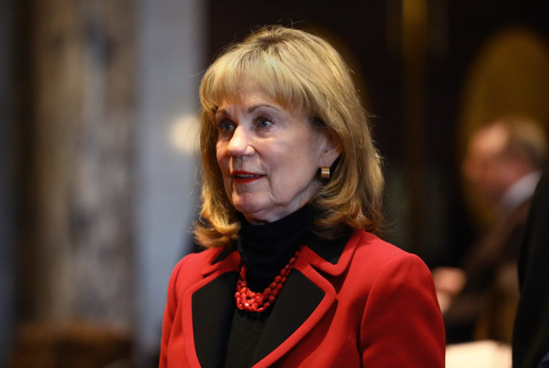 Sen. Alberta Darling, R-River Hills, as co-chairwoman of the Legislature's Joint Finance Committee, helped to repeal the state's False Claims Act as part of the 2015-17 state budget. She is seen during Gov. Scott Walker's budget address at the State Capitol in Madison, Feb. 8, 2017. Photo by Coburn Dukehart / Wisconsin Center for Investigative Journalism.
