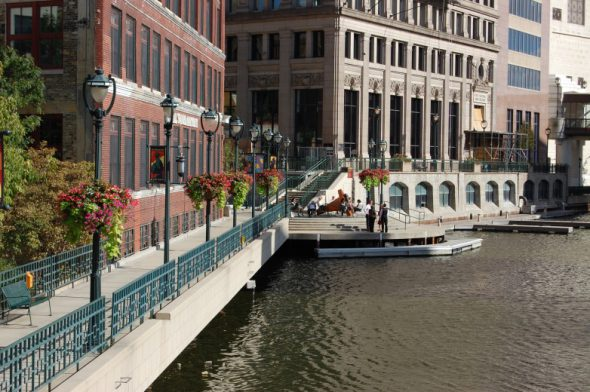 Milwaukee's Riverwalk. Photo from the City of Milwaukee.