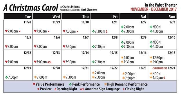 A Christmas Carol Public Performance Calendar