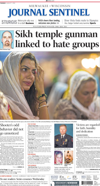 The front page of Milwaukee Journal Sentinel, Aug. 7, 2012, details one of Wisconsin's most infamous hate crimes.