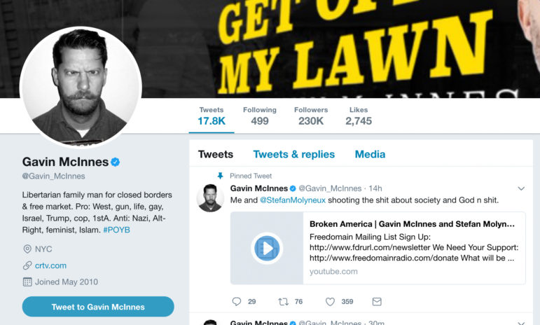 This is Proud Boys founder Gavin McInnes' Twitter profile, in which he states that he opposes Nazis, Islam and feminism and supports guns and the First Amendment. Image from twitter.com/Gavin_McInnes
