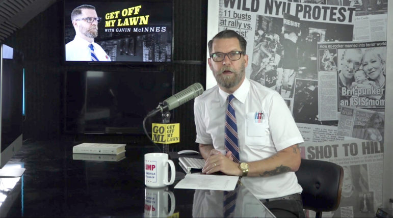 "Right-wing provocateur Gavin McInnes says he founded the Proud Boys in response to the ""war on masculinity."" Here McInnes appears on his online talk show, ""Get Off My Lawn."" Photo from crtv.com/category/get-off-my-lawn-with-gavin-mcinnes."