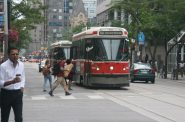 Route #504 streetcar in Toronto, prior to the King Street transit priority pilot project. Photo by Jeramey Jannene.
