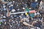 A discarded needle in an alley on the 2300 block of West Orchard Street on Milwaukee's South Side. Photo by Edgar Mendez.