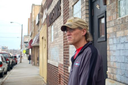 South Sider Matt Olson stands outside of Bob-E-Lanes, 2932 S. 13th, a tavern/bowling alley in the Polonia neighborhood that's remained open for decades. Photo by Edgar Mendez.