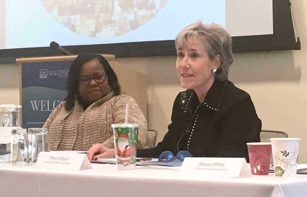 Carla McKiver, chief financial officer and co-founder of Convergence Resource Center (left), and Ellen Gilligan, Greater Milwaukee Foundation president and chief executive officer, participated in an overview of On the Table 2017. Photo by Elizabeth Baker.