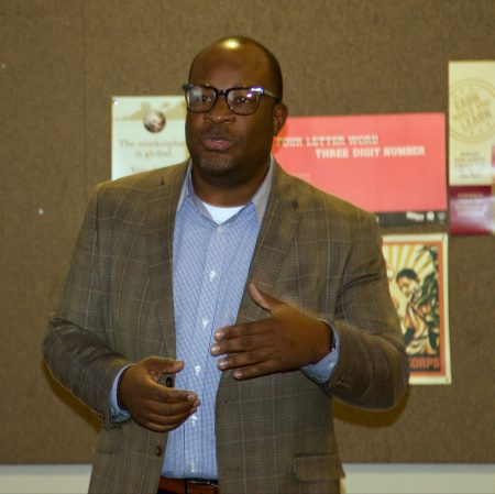 Office of Violence Prevention Director Reggie Moore discusses the Blueprint for Peace. Photo by Leah Harris.
