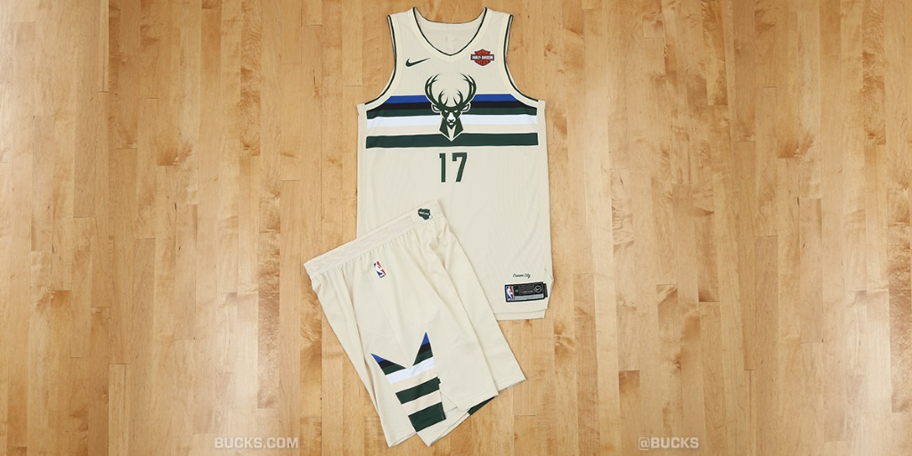 """Cream City"" City Edition Uniforms. Photo courtesy of the Milwaukee Bucks."