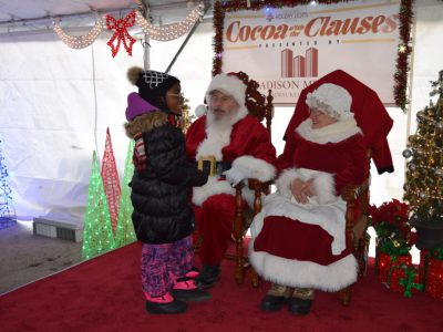 Santa and Mrs. Claus return to Cathedral Square Park for Cocoa with the Clauses on Saturday