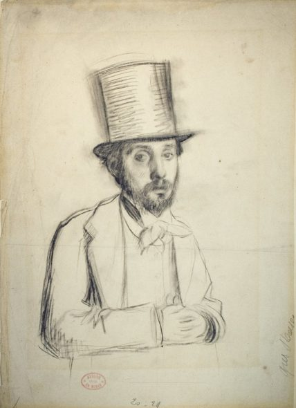 Edgar Degas (1834–1917), Self-Portrait in a Top Hat, ca. 1865. Charcoal on paper, 14 × 9 7/8 inches (35.5 × 25 cm).