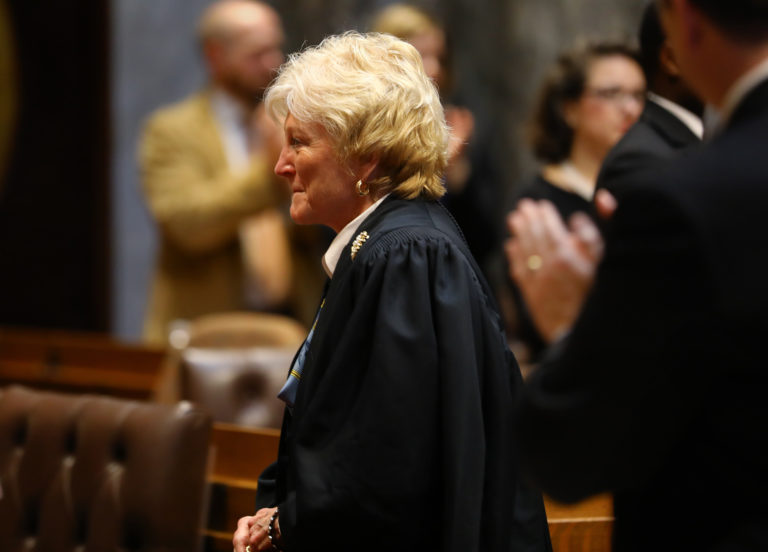 Wisconsin Supreme Court Chief Justice Patience Roggensack wrote that an injured worker who was partially disabled by surgery following a workplace injury should be compensated for that disability. Roggensack was on the losing end of that 4-3 decision, which denied worker's compensation to Tracie Flug. Roggensack is seen here at the State of the State address in Madison, Wis., on Jan. 10, 2017. Photo by Coburn Dukehart / Wisconsin Center for Investigative Journalism.