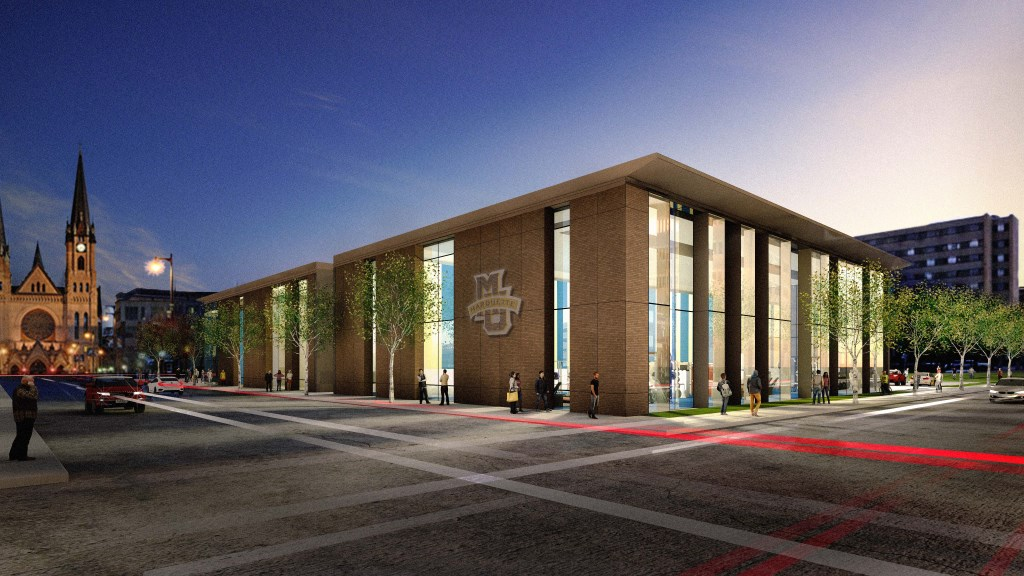 Street View Rendering of the athletic performance research center. Rendering courtesy of Marquette University.