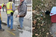 American Sewer Services employees. Left photo by Brian Oliver. Right photo by Sam Singleton-Freeman.
