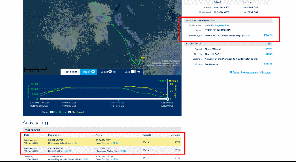 Gov. Walker's Flight Record