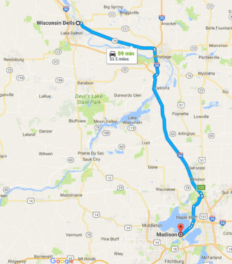 The drive from Madison to Wisconsin Dells is about 100 miles round trip. After the Department of Workforce Development paid invoices for almost eight months for a shuttle to drive people 38 miles round-trip from Madison to Stoughton, Suzanne Weber discovered they were being driven to Wisconsin Dells to interview for low-wage jobs instead. Map from Google Maps.