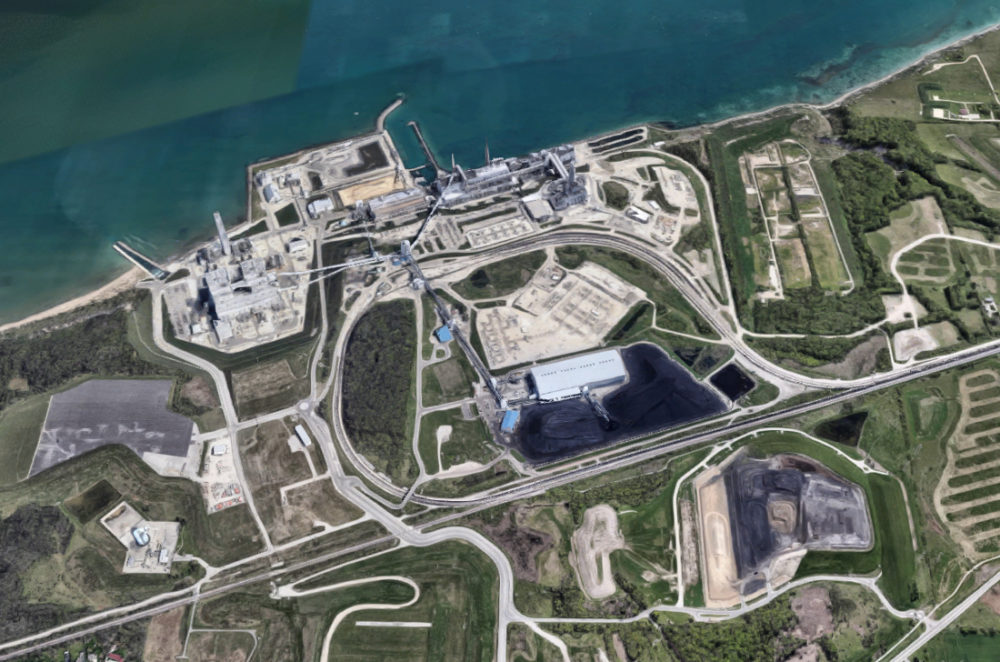 An aerial view of We Energies' twin Oak Creek and Elm Road coal-fired power plants south of Milwaukee, Wisconsin. Image from Google Earth.