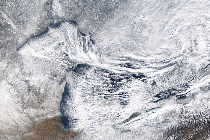 MODIS Satellite image over the Great Lakes during Lake Effect Snow. Image from NOAA Great lakes CoastWatch.