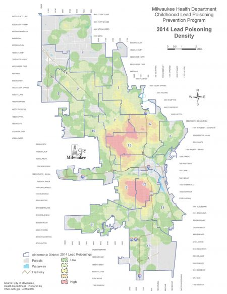This 2014 map of Milwaukee shows the prevalence of lead poisoning cases by aldermanic district, with red areas having the highest density of cases. Map courtesy of the Childhood Lead Poisoning Prevention Program.