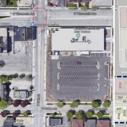 Intersection of N. 27th St. and W. Wisconsin Ave. (Left image, Google Maps, right image, City Land Report)