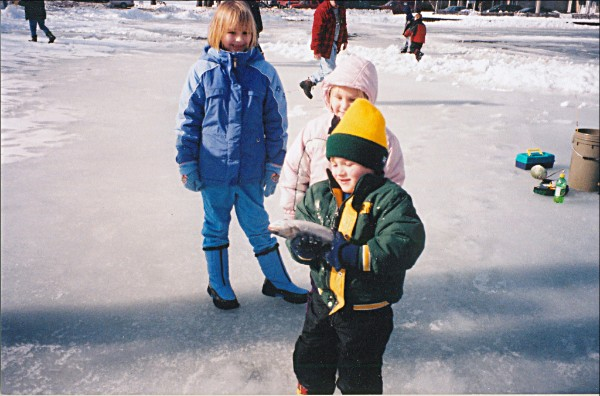 """""""You should have seen the one that got away!"""" Kids learn ice-fishing basics in hands-on clinics at six Milwaukee County Parks Lagoons, Feb. 10. Photo from Milwaukee County Parks."""