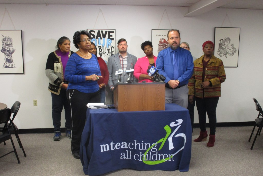 Marva Herndon, co-chair of Women Committed to an Informed Community, and Kim Schroeder, president of the Milwaukee Teachers' Education Association, held a news conference to share concerns with the lease rates MPS charges charter schools. Photo by Dave Fidlin.