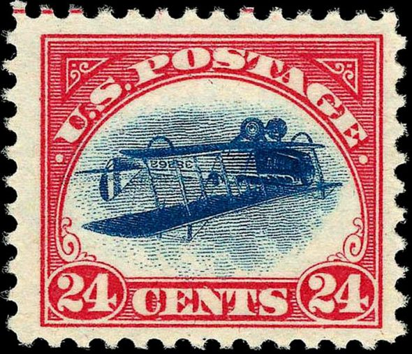 US Airmail stamp: Inverted Jenny Air Mail Issue of 1918, 24c. Photo is in the Public Domain.
