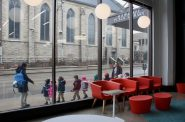 A class of small children leaves the Mitchell Street Library. (Photo by Jabril Faraj)