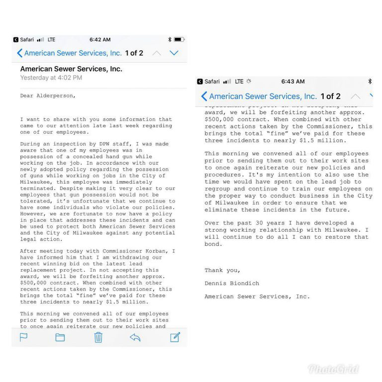 Email to Alderwoman Milele A. Coggs.