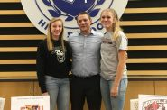 Brianna Flayter, Coach Brian Krysiak and Taylor Kirby. Photo courtesy of St. Thomas More High School.