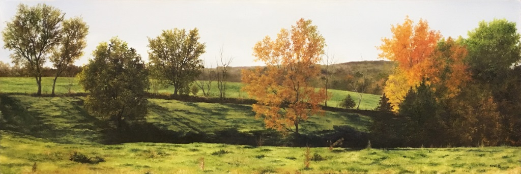 The Pasture (September in Wisconsin), Oil on Masonite, 10.25x30.5""