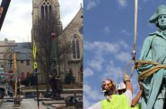 Statue re-installation (left, Art Heitzer), statue removal (right, MAB)