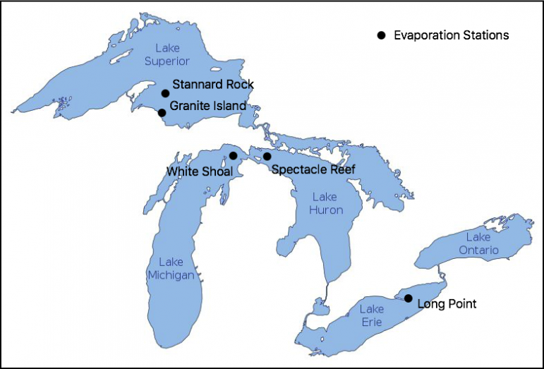 Map of all five flux tower locations on the Great Lakes, also referred to as Evaporation Stations. Image by Lindsay Fitzpatrick.