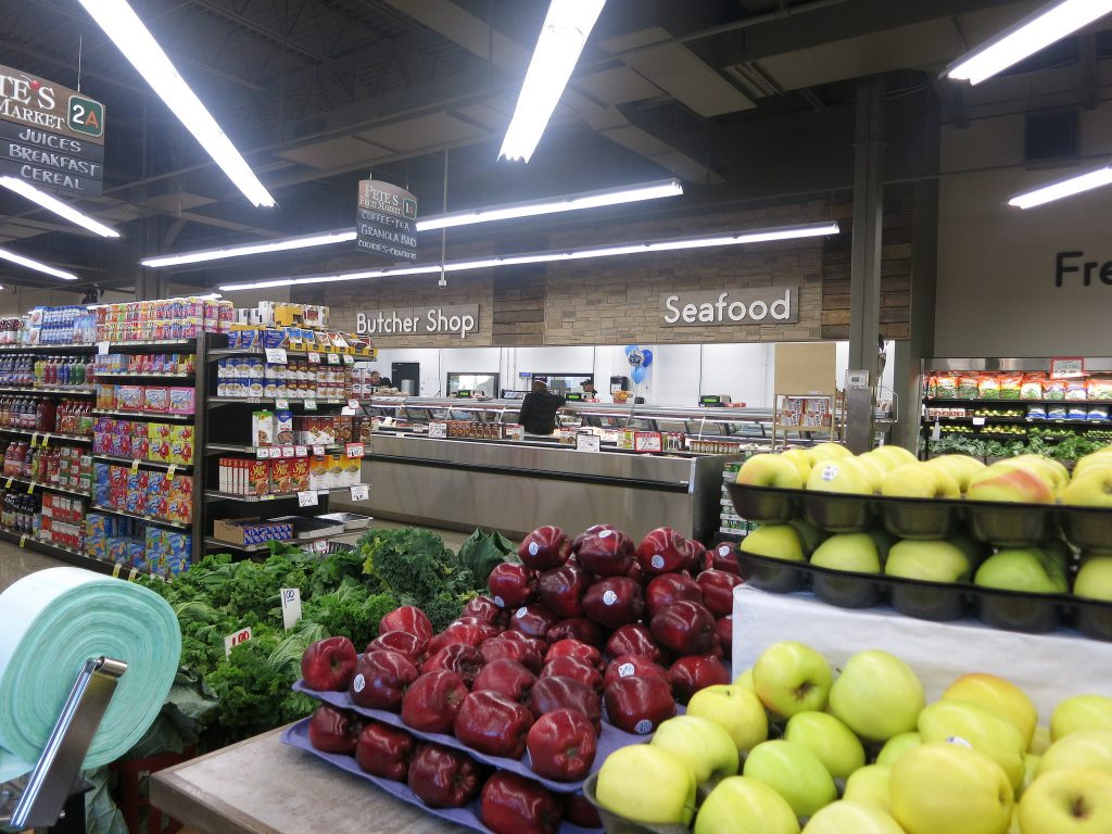 Pete's fruit display is adjacent to the seafood counter, which offers delicacies such as black-tip shark, red snapper and crab legs (Photo by Talis Shelbourne)