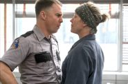 "Sam Rockwell and Frances McDormand in ""Three Billboards Outside Ebbeing, Missouri."" Photo by Merrick Morton/Twentieth Century Fox."