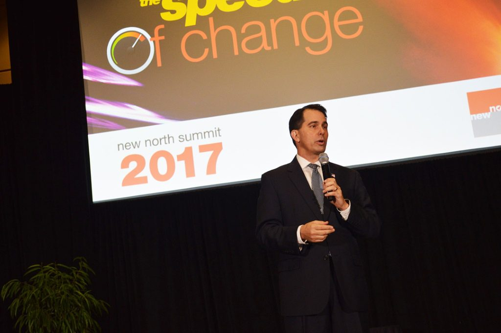 Gov. Scott Walker speaking at the New North Summit in 2017. Photo from the State of Wisconsin.