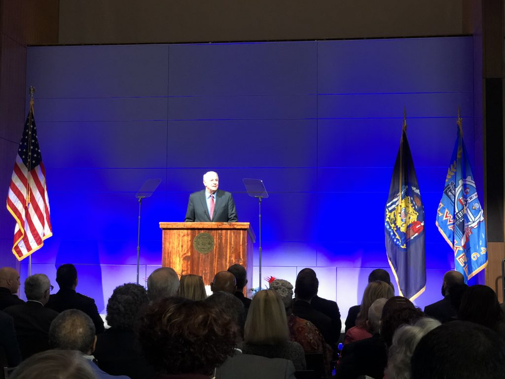 Mayor Tom Barrett delivers the 2018 State of the City speech. Photo by Jeramey Jannene.