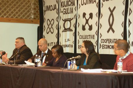 From left to right: Michael Crivello, president of the Milwaukee Police Association; Alexander Ayala, MPD detective and president of National Latino Peace Officers Association; Regina Howard, former MPD captain and representative for the League of Martin; Marisabel Cabrera, member of the Fire and Police Commission; and Jamaal Smith, racial justice community engagement manager of YWCA Southeast Wisconsin. Photo by Elliot Hughes.