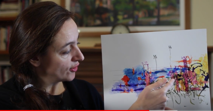 Composer Aleksandra Vrebalov shows an abstract sketch of My Desert, My Rose