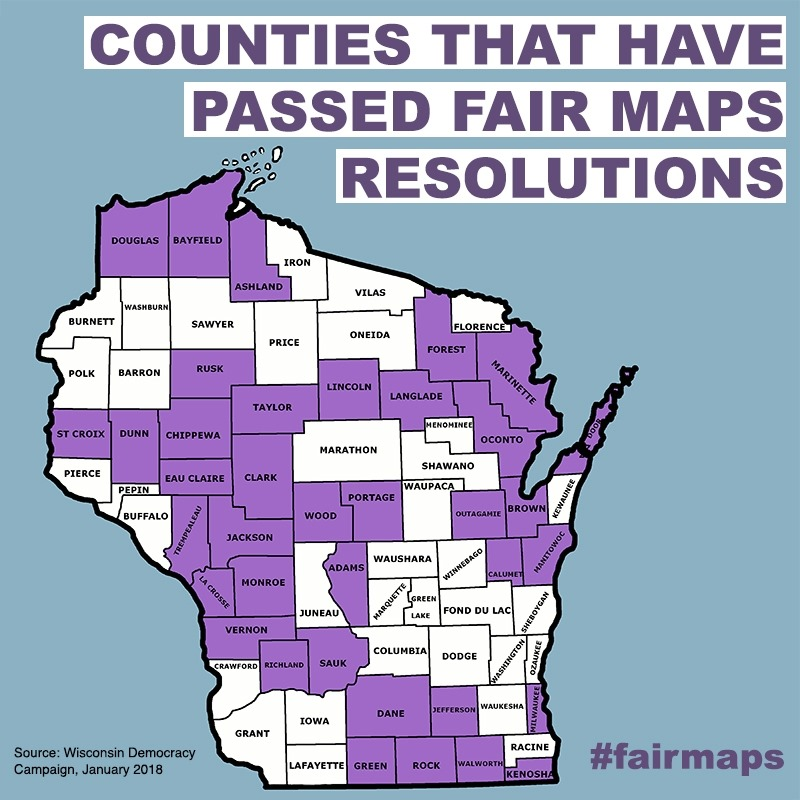 Counties that have passed fair maps resolutions (in purple).