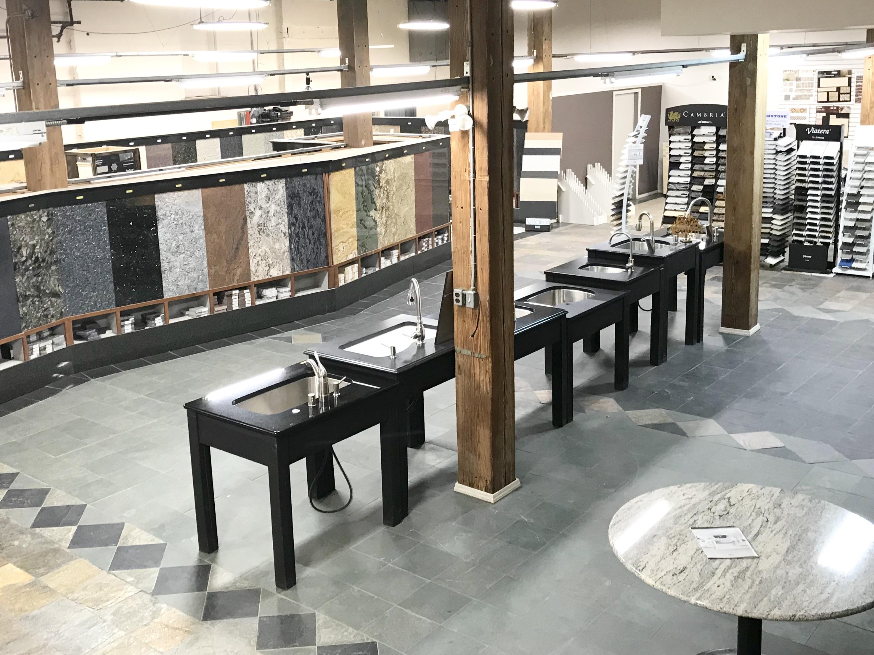 showroom counter milwaukee marble counters granite countertop wisconsin mg cat countertops mart fabricated kitchen limestone