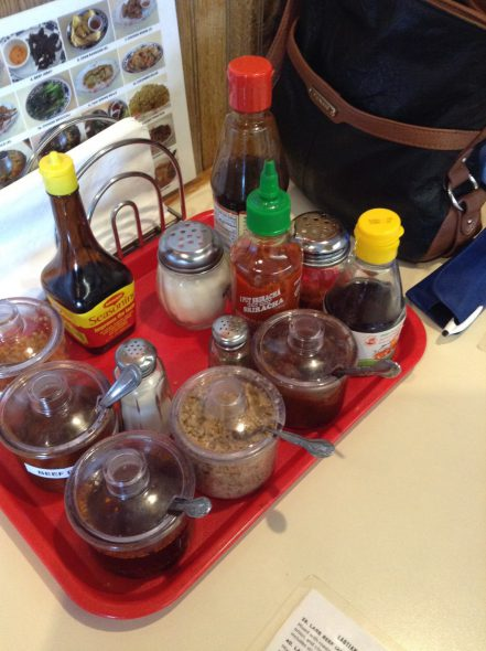 A variety of condiments. Photo by Cari Taylor-Carlson.