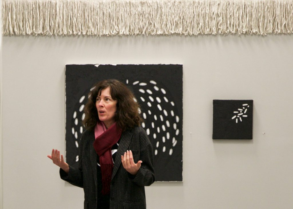 Melissa Dorn Richards discusses her work at the Frank Juarez Gallery. Photo from the gallery.