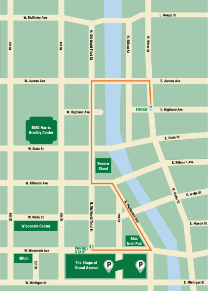 The 2018 parade steps off at noon on Wisconsin Avenue and Old World Third Street and will wind its way through the streets of Downtown Milwaukee until it finishes on Water St and Highland Ave.