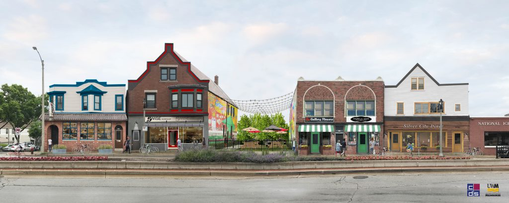 Rendering of 3500 Block of W. National Ave. in Silver City. 3514 W. National Ave. is on the far right. Rendering by Community Design Solutions.