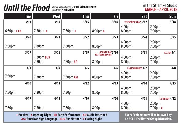 Until The Flood Public Performance Calendar