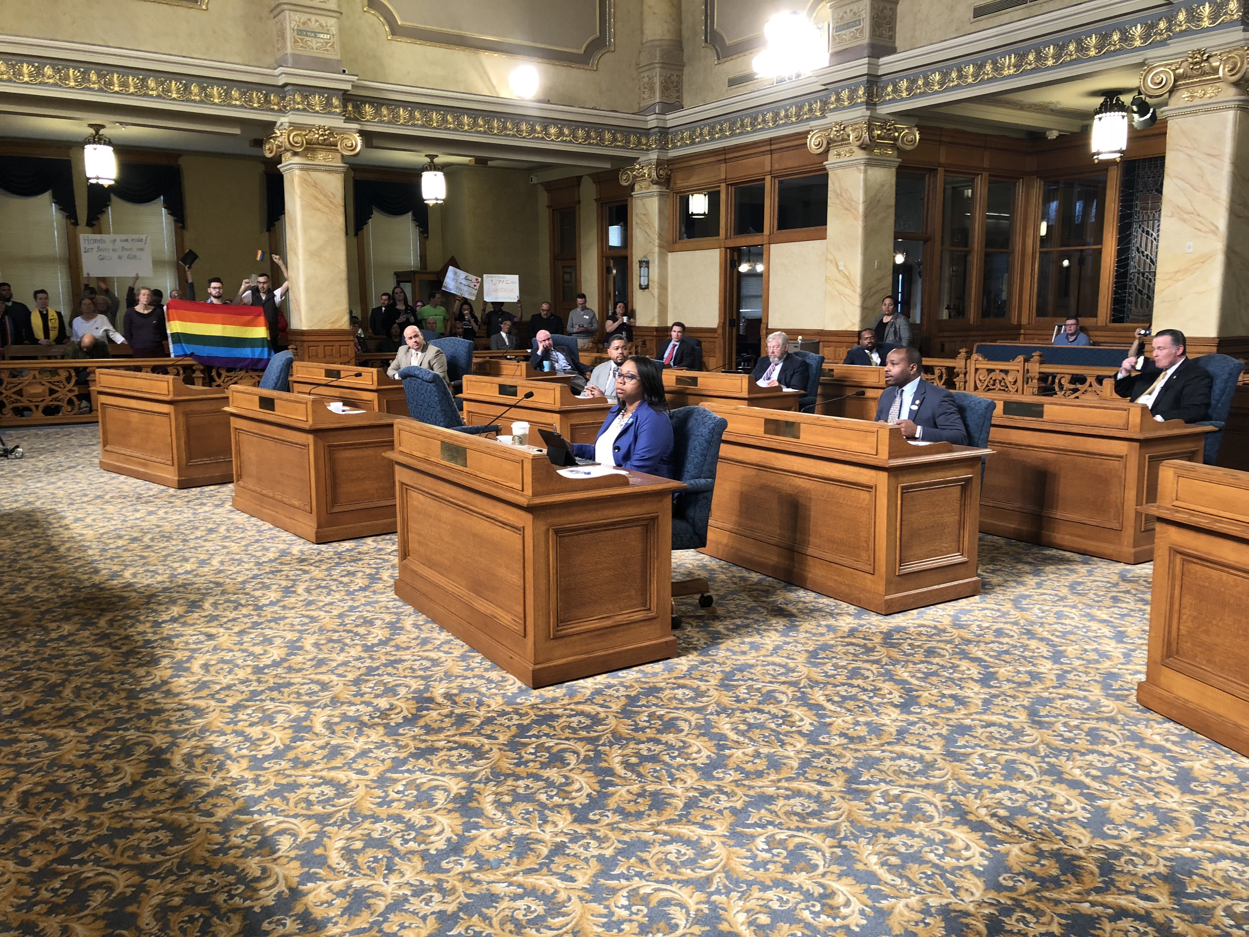 Ald. Cavalier Johnson (speaking from desk in second row) describes his conversion therapy ban. Photo by Jeramey Jannene.